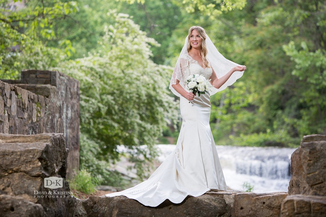 Old mill ruins bridal portrait