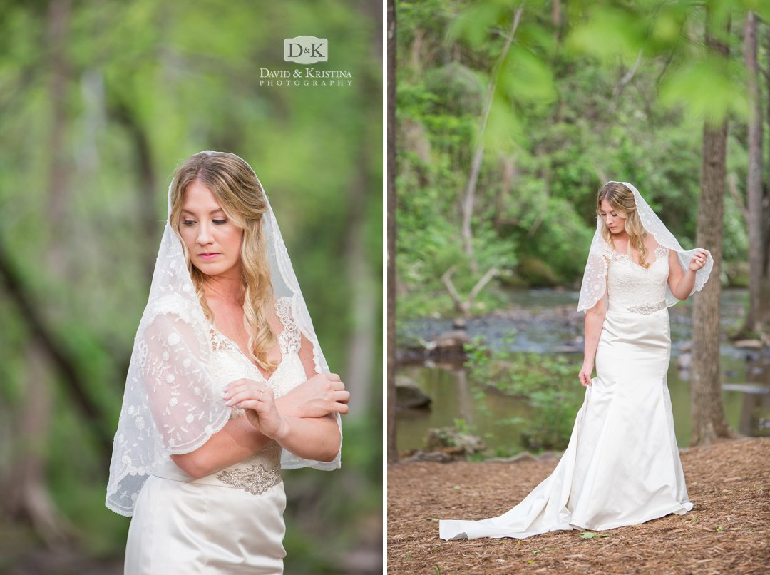 Reedy river in Old Mill Garden Bridal Portrait
