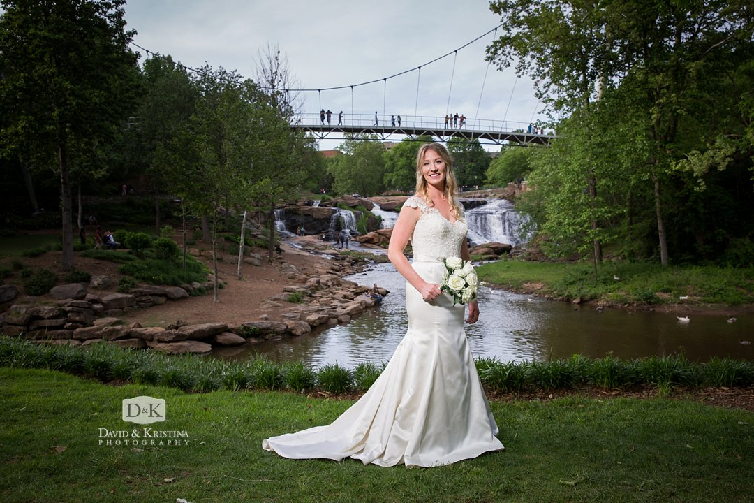 Liberty Bridge Falls Park Bridal Portrait