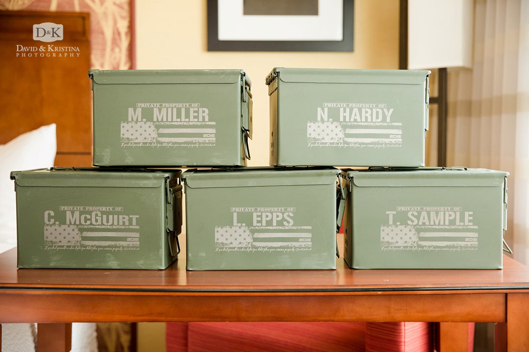 personalized military ammunition boxes as groomsmen gifts at wedding
