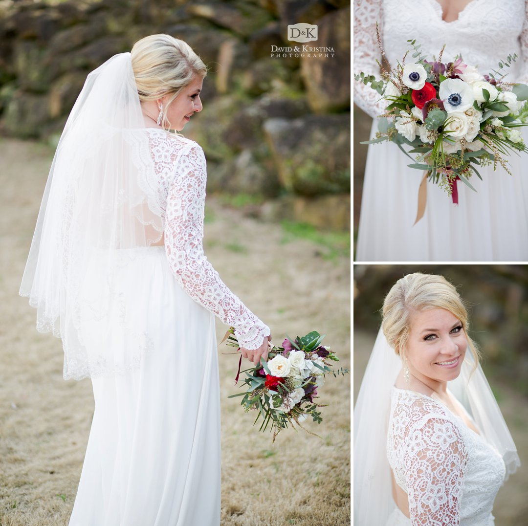 bridal portrait at Larkin's Sawmill wedding
