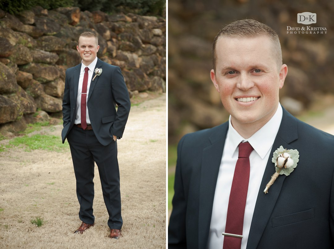 Groom portrait at Larkin's Sawmill