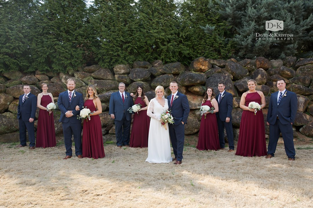 wedding party at Larkin's Sawmill wedding