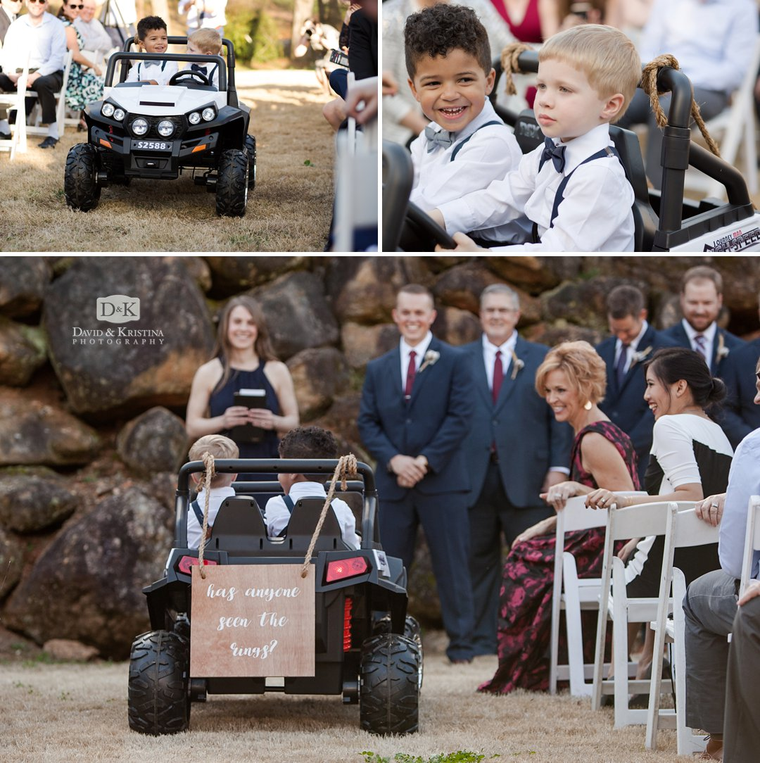 ring bearers in electric remote controlled jeep with sign has anyone seen the rings