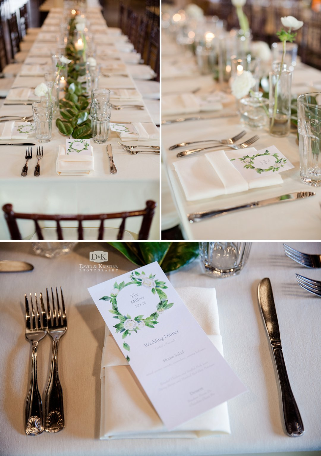 place settings at Larkin's Sawmill wedding reception
