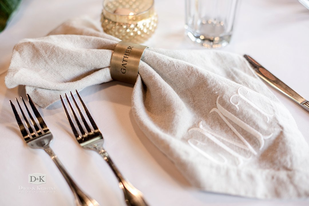 Gather Upstate napkin rings on monogrammed napkins
