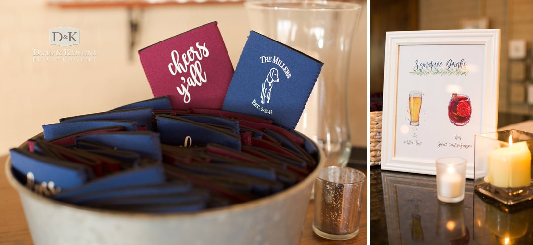 personalized koozies and signature wedding drinks