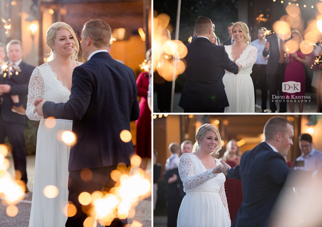 First dance with sparklers at Larkin's Sawmill wedding