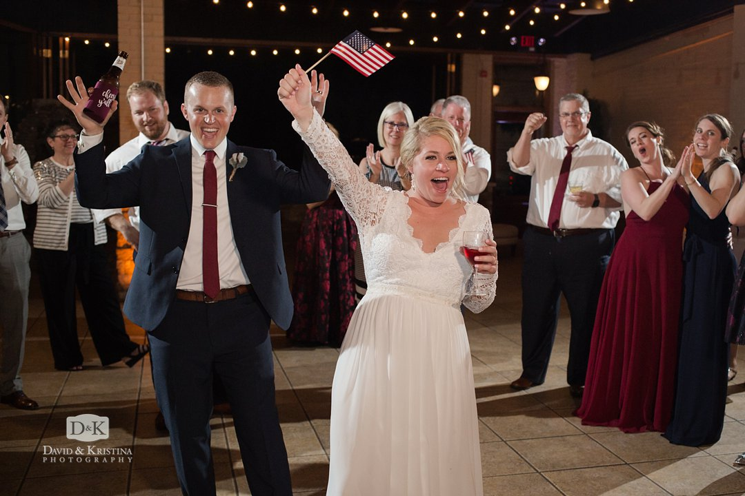 American flags at wedding reception