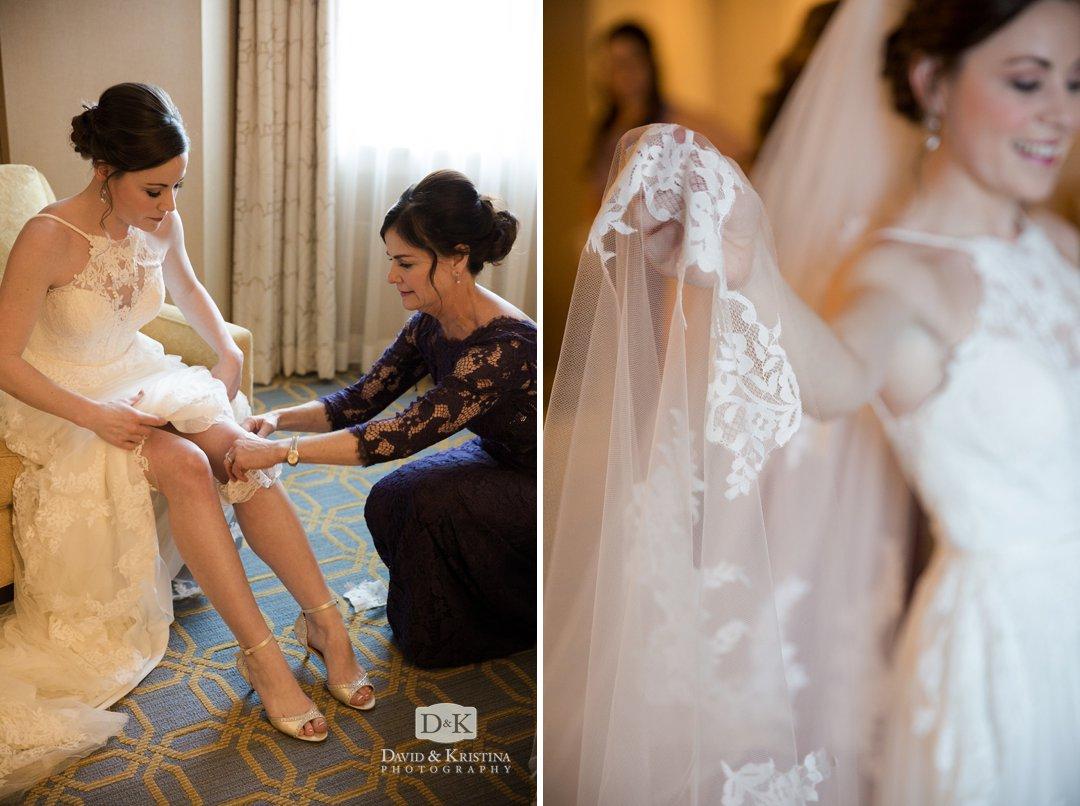 bride's veil and garter