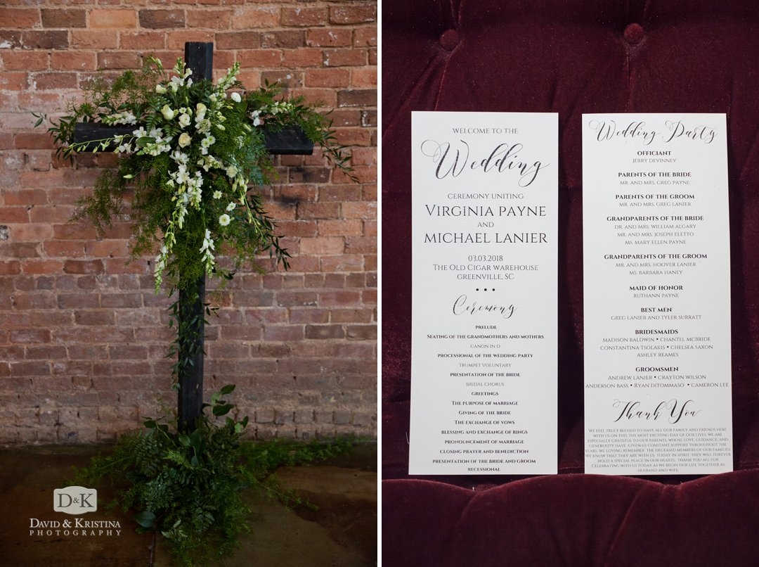 Cross with flowers and wedding program