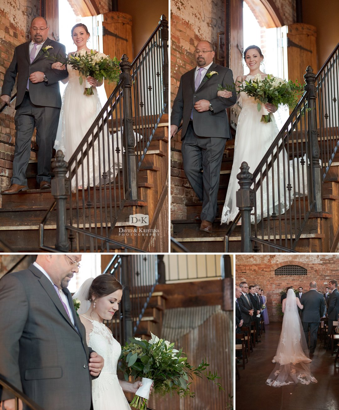 bride walking down staircase at Old Cigar Warehouse