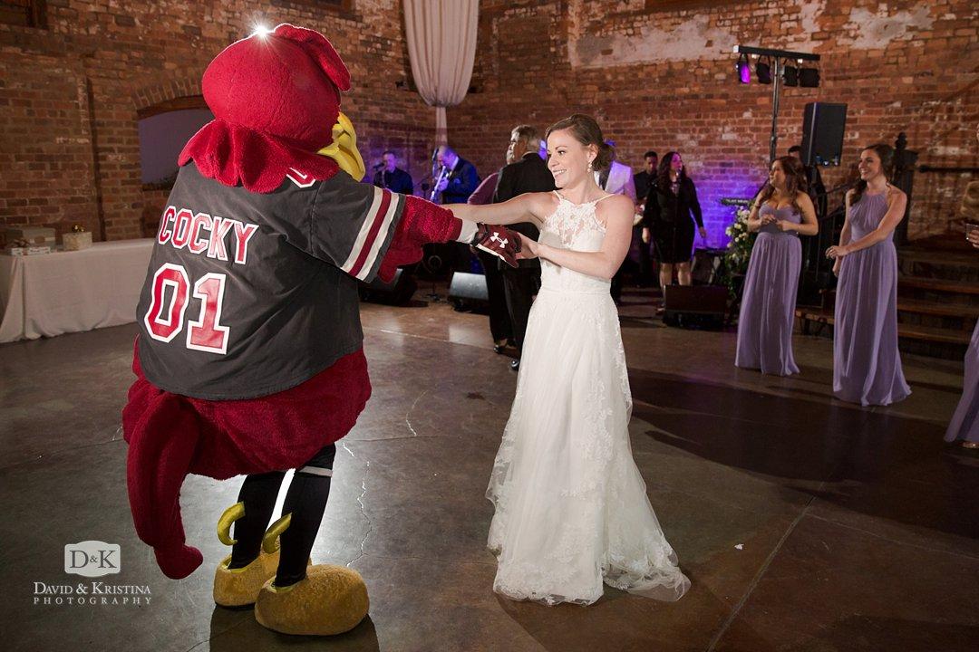 Cocky at a wedding reception