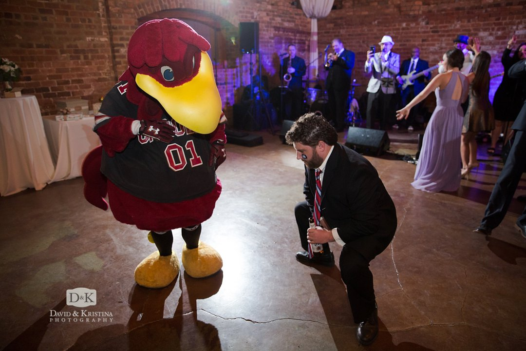 Cocky the Gamecock mascot at wedding reception