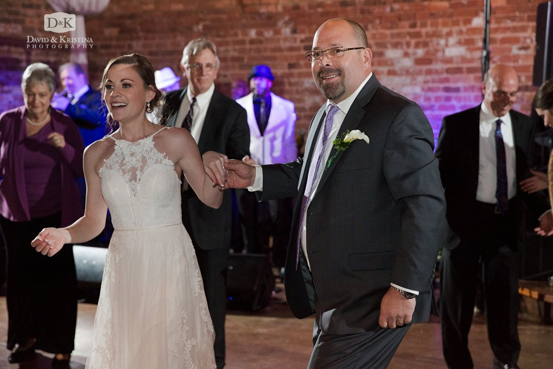 Virginia and her dad at wedding reception