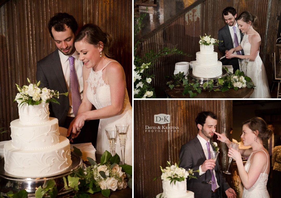 Michael and Virginia cutting wedding cake