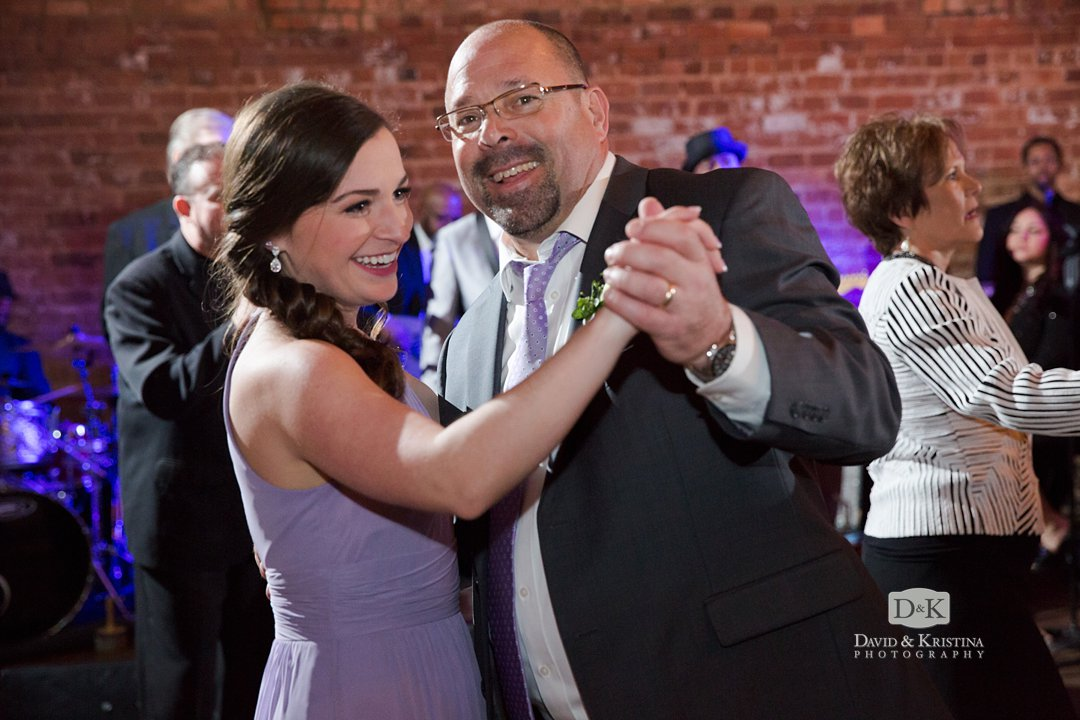 dancing at wedding reception at The Old Cigar Warehouse