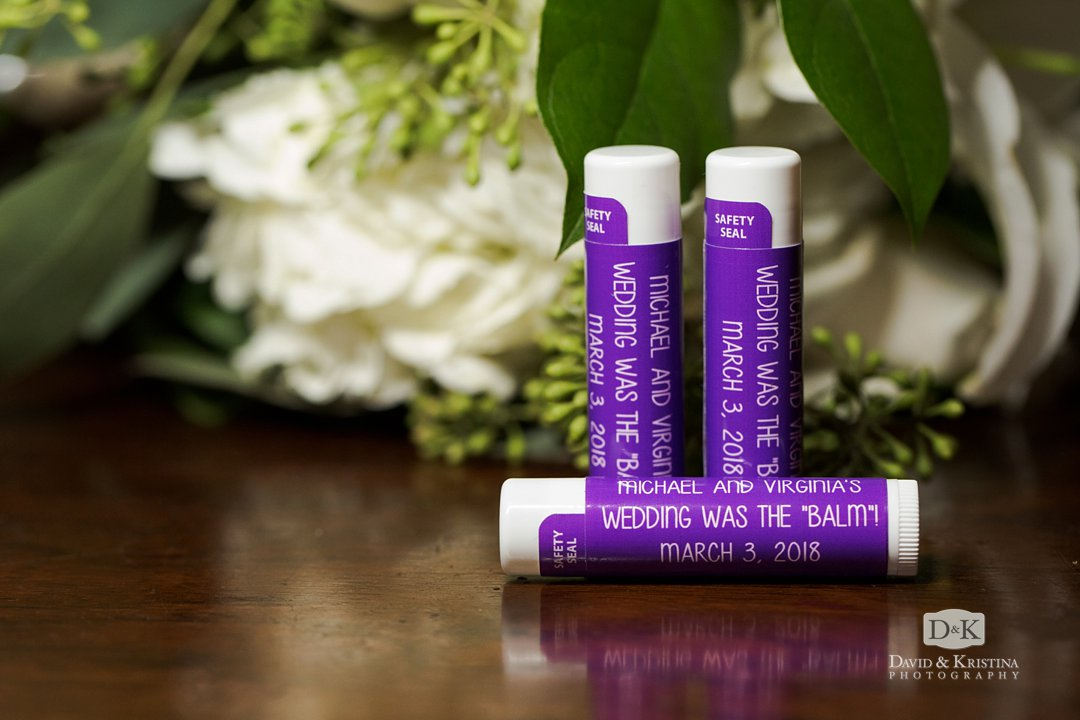 lip balm wedding favors Michael and Virginia's wedding was the balm