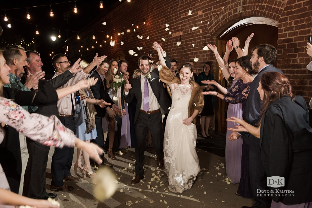flower petal exit at The Old Cigar Warehouse wedding