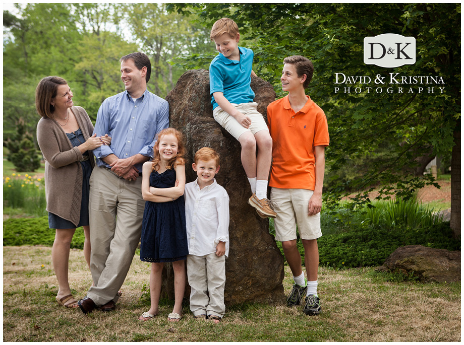 a giant rock was the perfect spot to get the whole family together for a lifestyle portrait