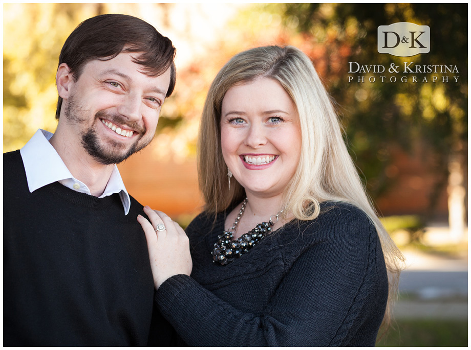 engagement pictures on Main St Greenville SC