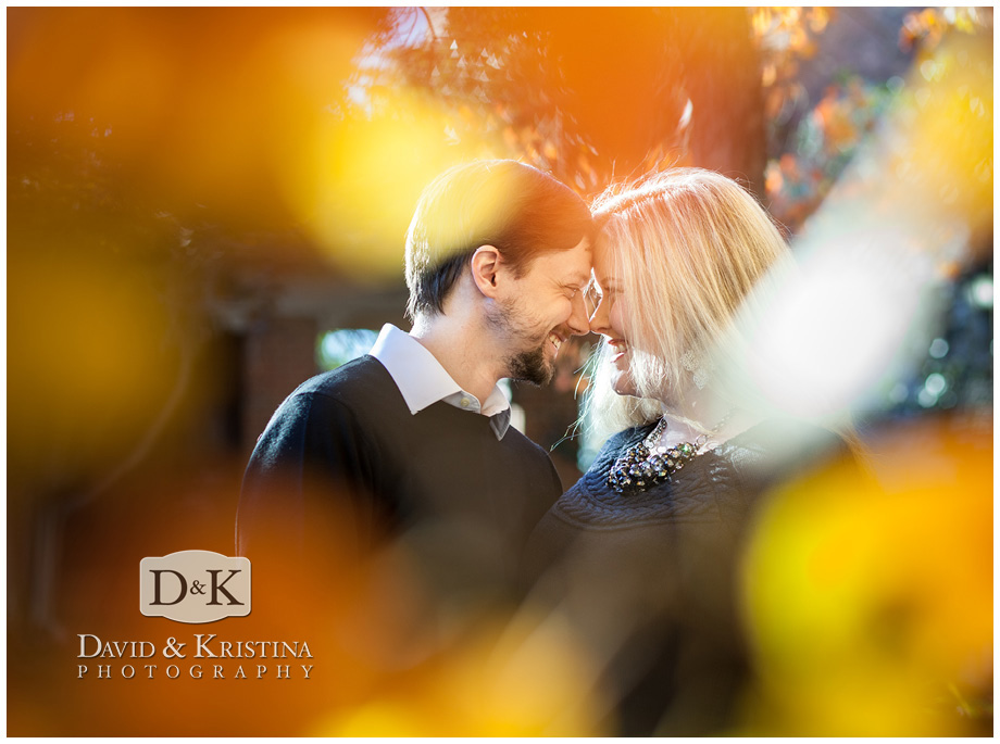 fall leaves in engagement pictures