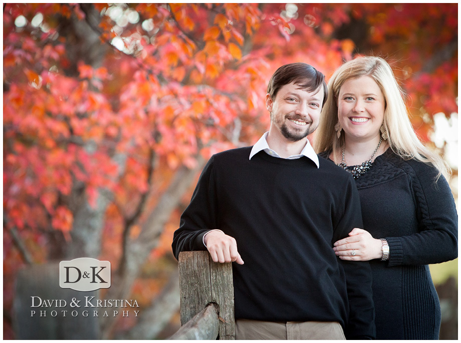 fall leaves in engagement pictures downtown greenville