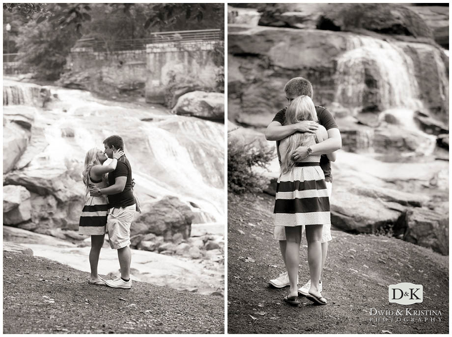 Just engaged in front of the waterfall in Falls Park on the Reedy River