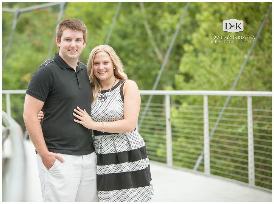 engaged couple on Liberty Bridge