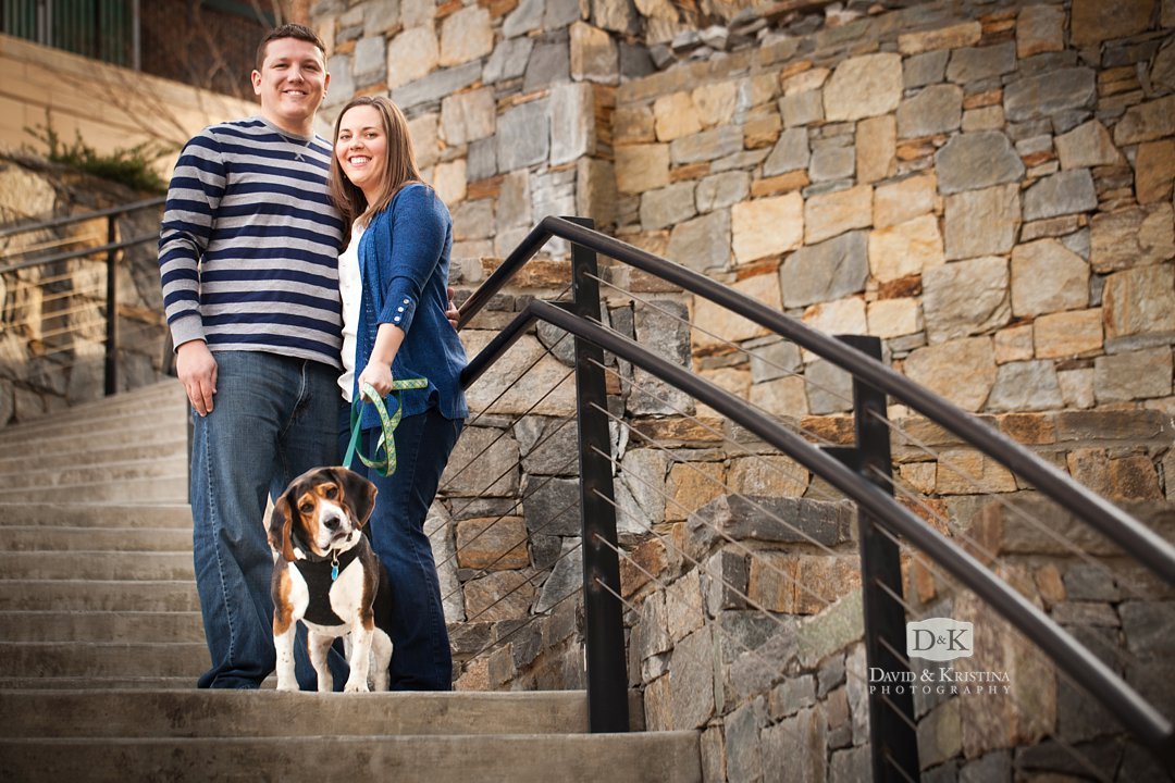 David and Melissa engagement session with a dog at Riverplace Greenville