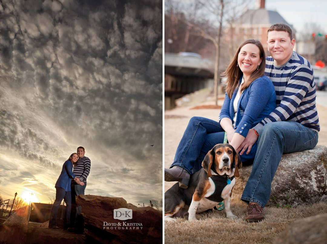 engagement photos at Riverplace behind Peace Center