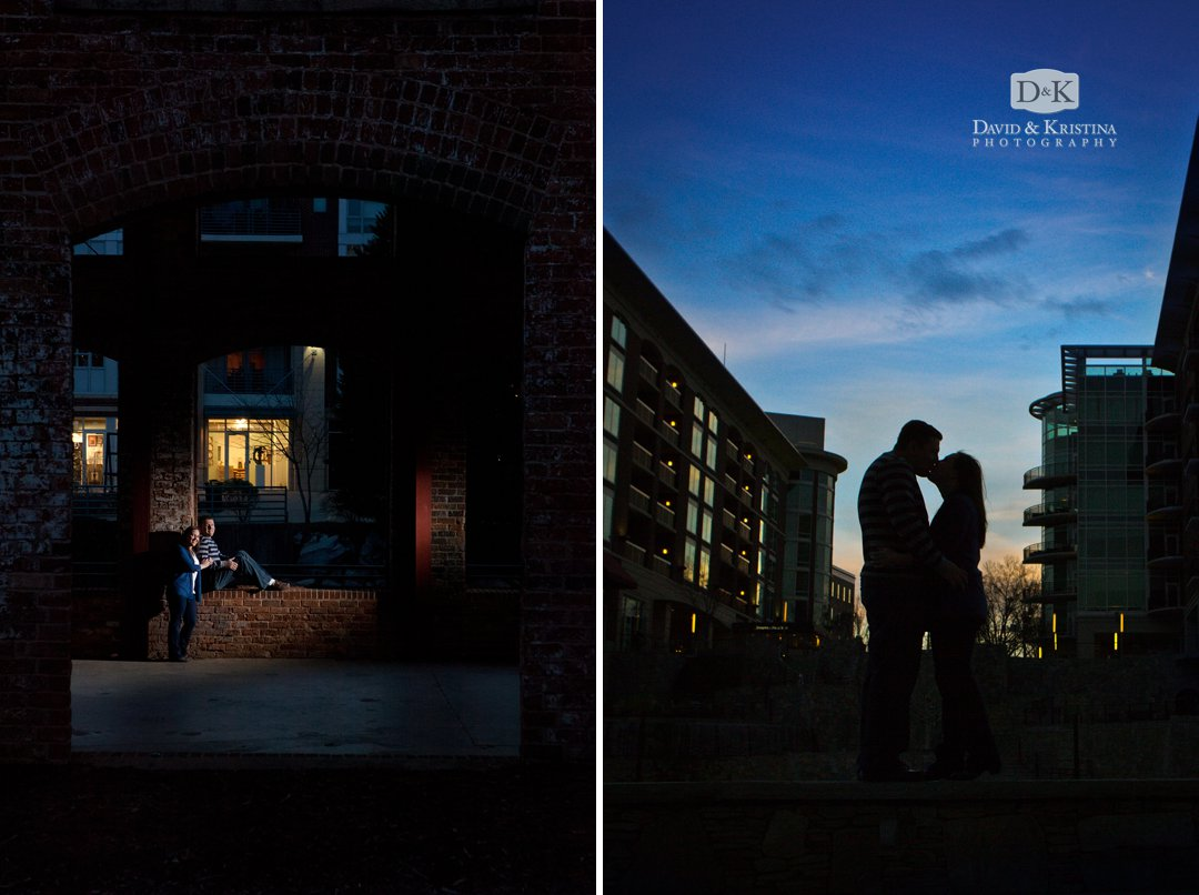 cinematic lighting for engagement photos in Greenville SC