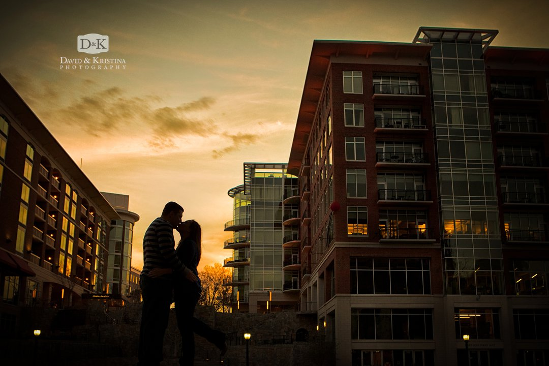 sunset engagement photo in downtown Greenville SC