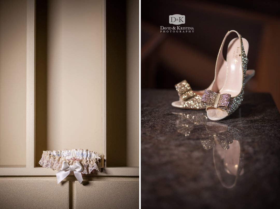 garter and wedding shoes with reflection in granite