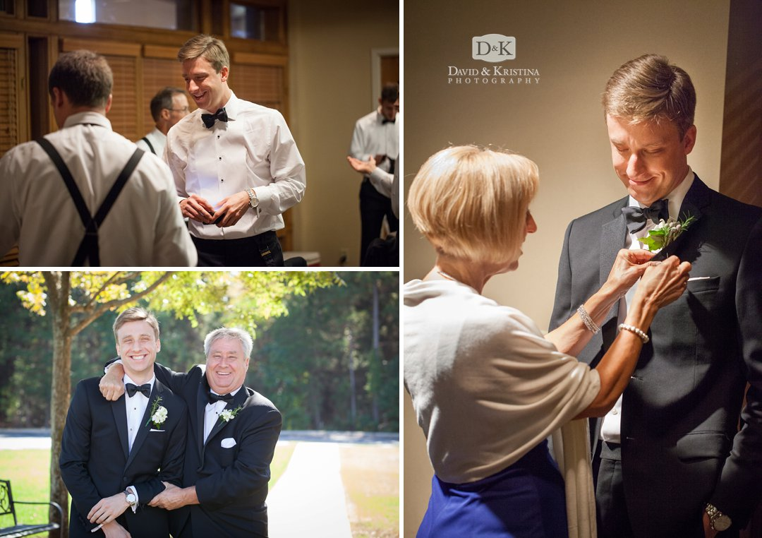 Thomas getting boutonniere on before wedding