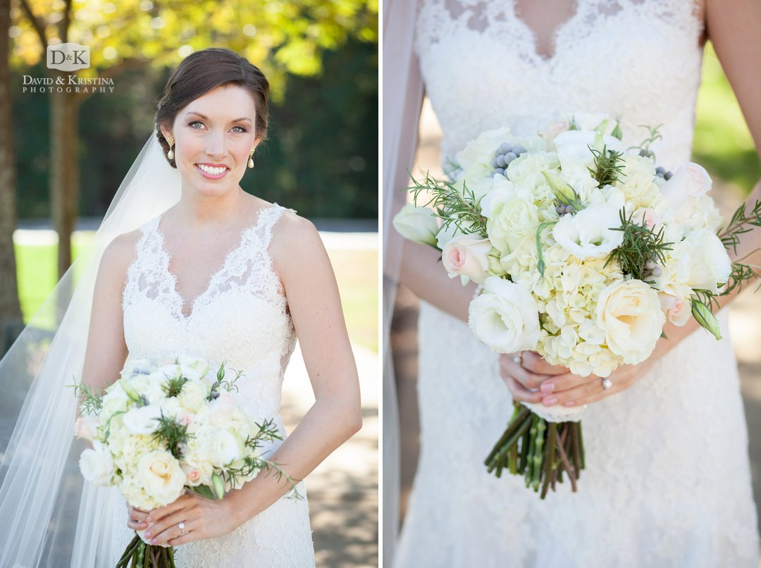 a beautiful bride with her bouquet by Greg Foster florist