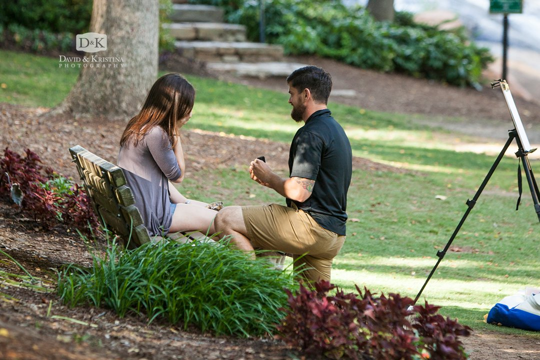 surprise proposal on one knee