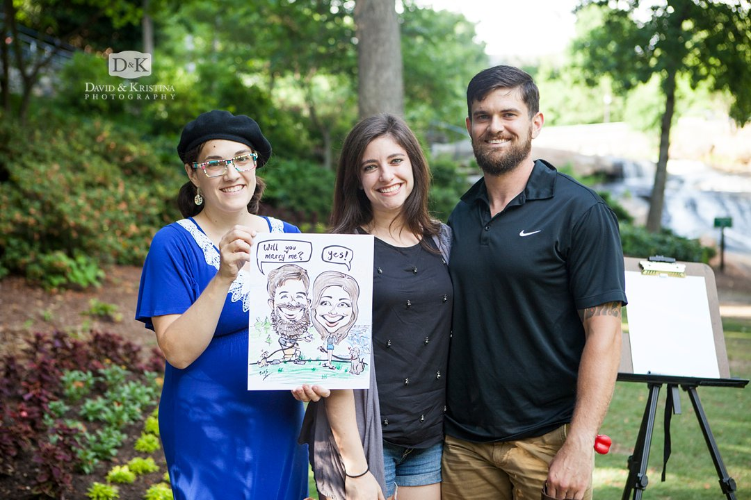 caricature cartoon drawing of surprise engagement proposal