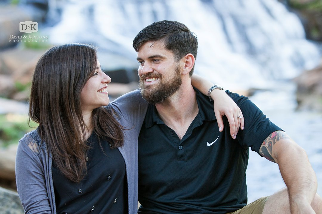 engaged couple at Falls Park Greenville SC